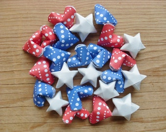 Patriotic Stars and Hearts, set of 24. Red, White and Blue Table Scatter, 4th of July.