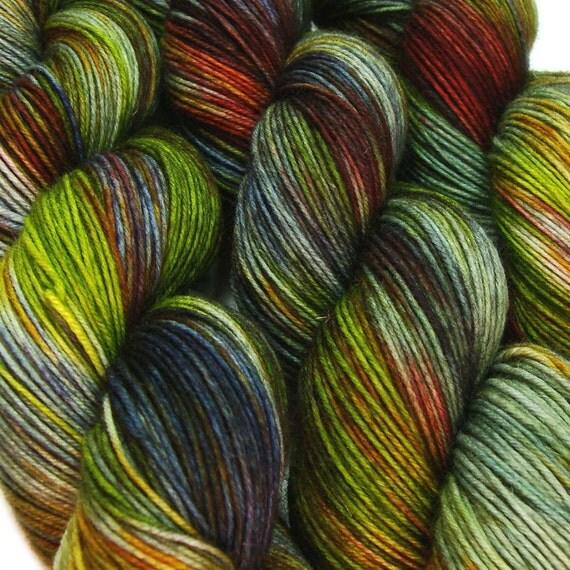 LOTHLORIEN Lord of the Rings hand dyed fingering sock yarn sw wool nylon 3.5oz 460 yards