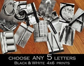 Alphabet Photography 4x6 Black and White Individual Photo Letters  ANY 5 LETTERS