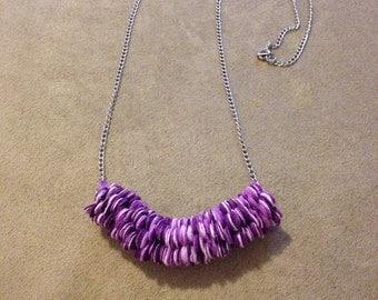 Purple paper flower necklace