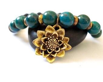 Water Lily Yoga Bracelet, Green Howlite, Lava Rock, Brass Charm Bracelet, Yoga or Meditation