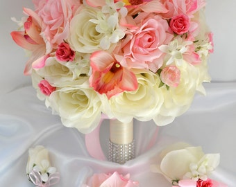"""17 Piece Package Wedding Bridal Bride Maid Of Honor Bridesmaid Bouquet Boutonniere Corsage Silk Flower PINK IVORY """"Lily Of Angeles"""" IVPI04"""