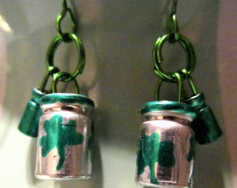 Green Capacitors on Green Wire Earrings