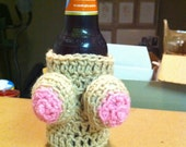 Handmade, Crocheted Woozie - WINE Boobie Coozie (removable bikini top available SEPARATELY) Great party piece or gift idea!!