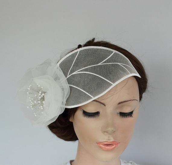 Bridal Headpiece White Organza Unusual Weddings Head Piece Bridal Flower Hairpiece Tulle Leaf Flower Unique Design