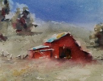"landscape, barn, farm, horse, country art, red, green- Barnscape 11. Original Watercolor Painting (6"" x 6"")"