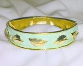 Vintage Mint Green Golden Leaf Bangle Bracelet