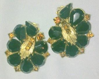 Vintage Black and Amber Rhinestone Cluster Earrings