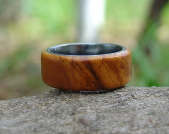 Wood Ring Size 8 - Olive wood & tungsten ring