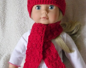 Crochet pattern for hat and scarf for 18 inch doll, American Girl doll or Gotz doll