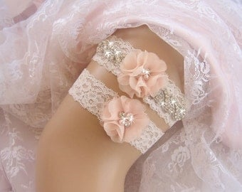 Vintage Bridal Garter, Wedding Garter Set, Lace Garter, Toss Garter included Ivory with Rhinestones and Pearls Custom Wedding colors