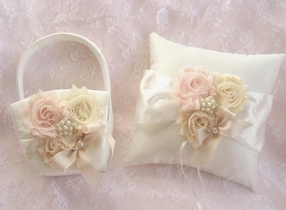 Flower Girl Basket Blush : Flower girl basket blush rose blossom
