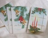 Set of Four Vintage Christmas Cards - Unused