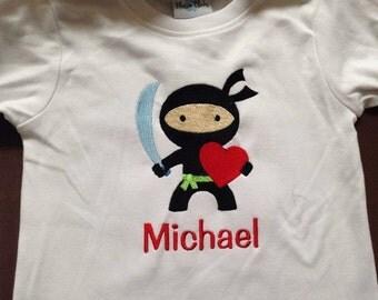 Valentine Ninja Custom boutique appliqued monogrammed personalized, boys, girls, T-shirt, one piece w/snaps, valentines,