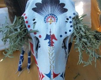 SALE Elk Skull & Desert Sage Bundle - Native American Southwestern Decor Primitive Tribal Wapiti Bone Ceremony Red Blue Aho Mitakuye Oyasin