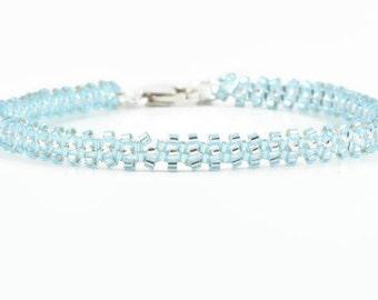Blue Bracelet - Layering Bracelet - Seed Bead Bracelet - Beadwork Jewelry - Beaded Jewelry - Beaded Bracelet - Blue Topaz Bead Bracelet