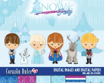 Snow princess - Personal and Commercial Use Clip Art= INSTANT DOWNLOAD