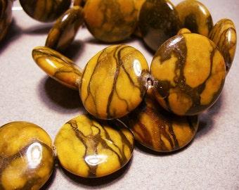 Jasper  Beads Gemstone Yellow Coin 20MM