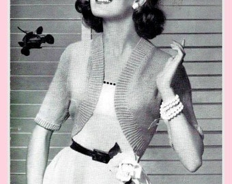 PDF Knitting Pattern for a Stylish 1950's Ladies Easy-To-Knit Bolero - Instant Download