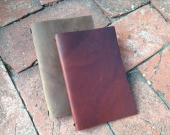 13x21cm Leather Moleskine Cover or Leather Menu Cover (for Large Moleskine cahiers) - COVER ONLY