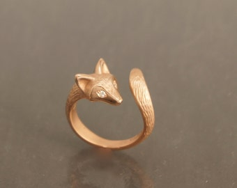 furred baby fox ring  14 kt. rose gold. diamond