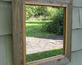 SOLD Handcrafted Large Rustic Industrial Barnwood Mirror no.1411