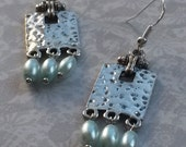 Art Deco Hammered Silver & Mint Glass Pearl Sterling Silver Earrings
