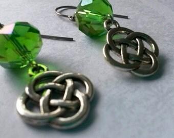 Celtic Lovers Knot Crystal Earrings in Titanium