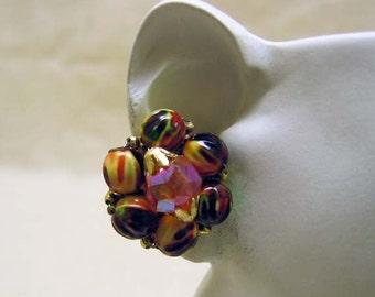 Vintage Colorful Hong Kong Beaded Clip Earrings