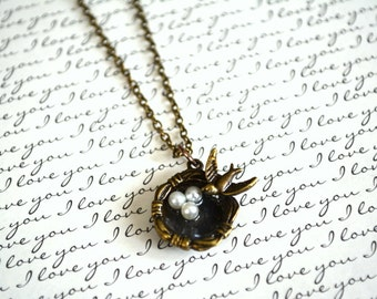 Birdnest Necklace - Mother's Necklace - Heart of the Home Is Mom Necklace