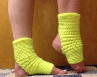 Yoga Socks in Fluorescent Yellow Acrylic -- for Dance, Yoga, Pedicures, Pilates.