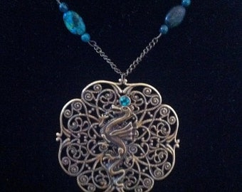 Gold and Turquoise Dragon Pendant - Fantasy