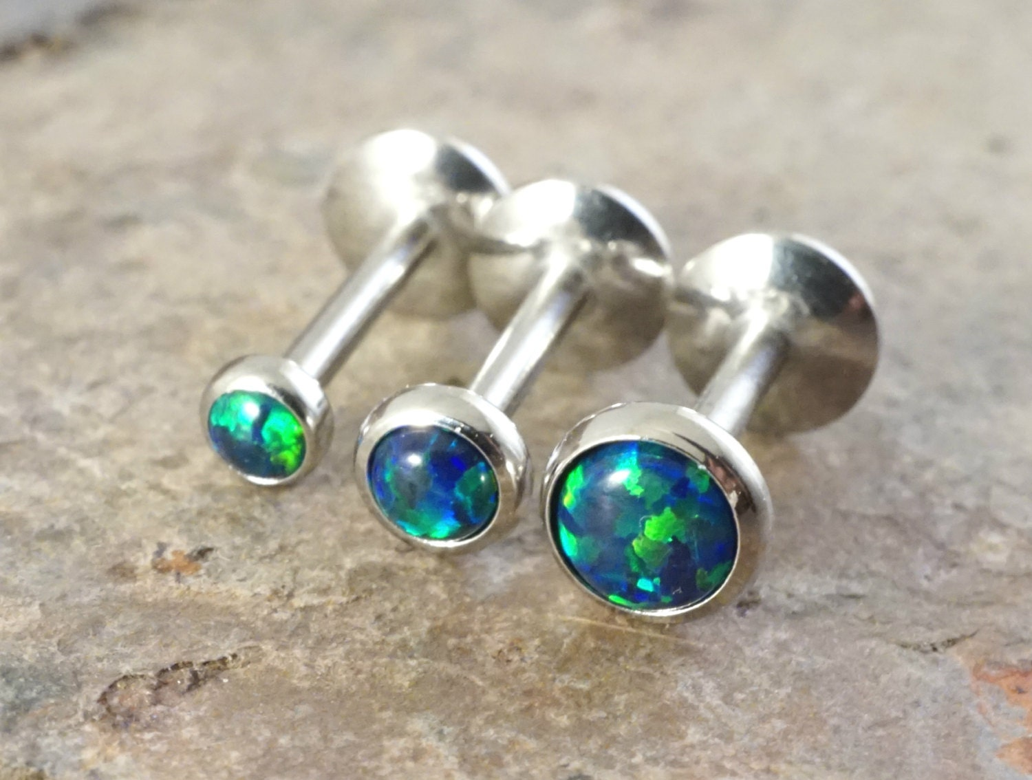 opal cartilage earrings black opal 16 cartilage earring 8mm post tragus 3236
