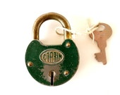 Vintage Corbin Padlock with Key and Green Finish (c.1940s) - Collectible, Cabin or Home Decor, Altered Art Supply