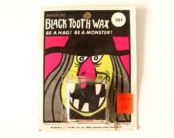 Vintage Black Tooth Wax, Halloween Costume Collectible in Original Package (c.1970s) - Halloween Decor, Collectible Toy, Altered Art