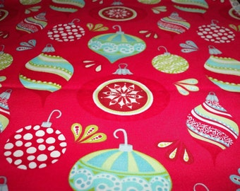 Gorgeous Oranaments Christmas Fabric Red Background New BTFQ