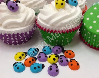 Mix Colors  Edible Lady Bugs for Cupcake/Cake Decorations/Cookies or Cake Pops made of Vanilla Fondant - You can Choose  the Color TOO!