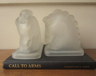 Equestrian opaque glass bookends.  Horse bookends.  Derby decor.