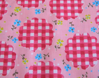 1960s Floral Fabric Remnant .. Vintage Heavy Cotton Material ..  3  1/2 Yards