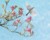 Magnolia, branches, blossom, flying bird, titmouse, bird art, blue, pink, flower, pastel, girl's room, baby nursery, magenta, sky, baby blue