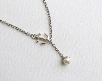 Antiqued Silver Anchor Pearl Necklace... Vintage Style Nautical Lariat