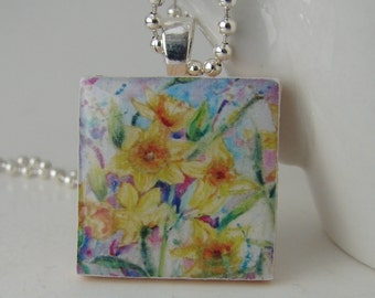 Field of Daffodils Pendant with Free Necklace