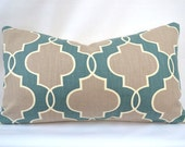 Throw Pillow, 14 by 14 inch, P. Kaufmann Luca in teal (Cover only)