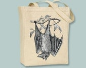Vintage Hanging Bat Canvas Tote -- Selection of sizes available