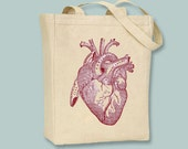 Vintage Anatomical Heart Image on canvas tote  - Selection of  sizes or black image available