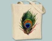 Vintage Peacock Feather Canvas Tote - Selection of sizes available