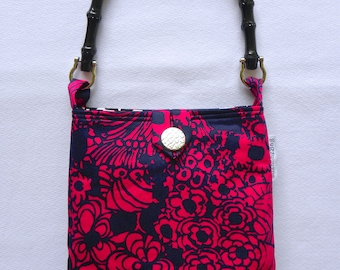 Evening Out Bag - Vintage Navy Blue and Deep Fuchsia Floral