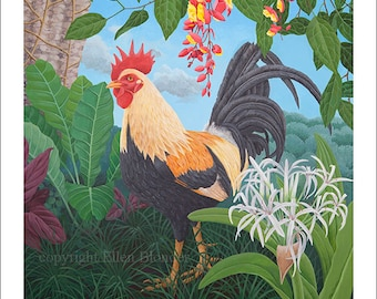 Kauai Rooster with Spider Lily, Large Giclee Print