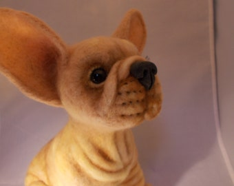 French Bull dog Needle, Soft Sculpture, Made to Order