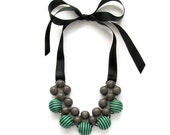Wooden Statement Necklace / Graywood Blue, Green Black Fabric Beads and Grosgrain RibbonTies / Comptemporary Wooden Necklace